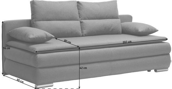 SCHLAFSOFA in Textil Silberfarben, Dunkelblau  - Silberfarben/Dunkelblau, KONVENTIONELL, Kunststoff/Textil (207/94/90cm) - Venda