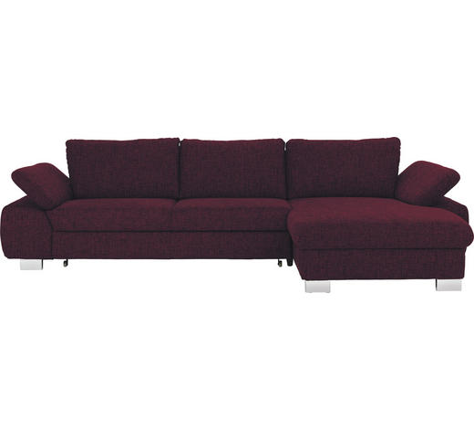 WOHNLANDSCHAFT Aubergine  - Aubergine/Alufarben, Design, Textil/Metall (316/184cm) - Beldomo System