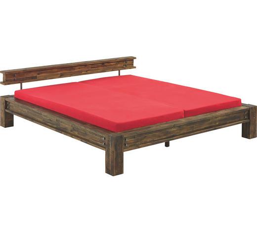 BALKENBETT in Holz Braun - Braun/Akaziefarben, Design, Holz (180/200cm) - Hasena