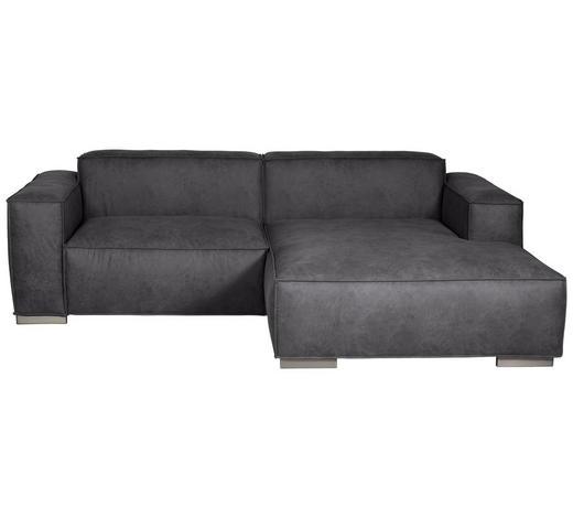 WOHNLANDSCHAFT in Textil Dunkelgrau - Dunkelgrau/Silberfarben, KONVENTIONELL, Kunststoff/Textil (260/168cm) - Carryhome
