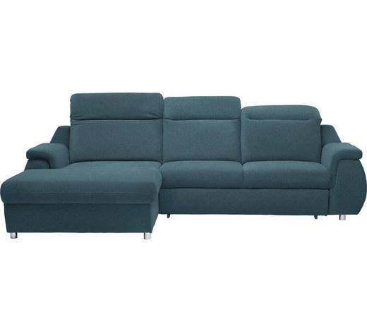 SEDACÍ SOUPRAVA, textil, modrá - modrá/barvy chromu, Konvenční, textil/umělá hmota (193/290cm) - Welnova