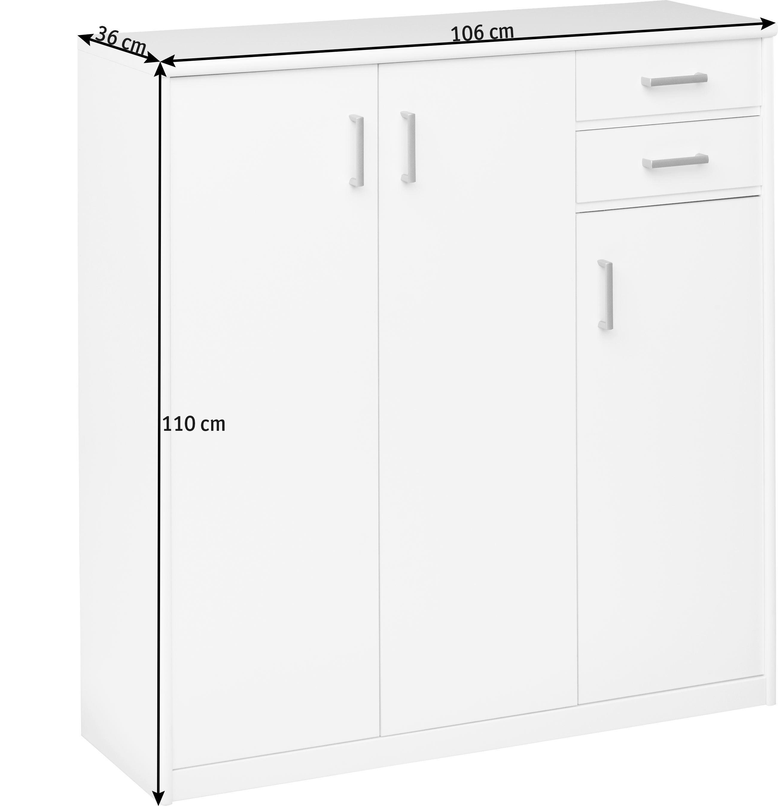 KOMMODE in Ahornfarben - Silberfarben/Ahornfarben, KONVENTIONELL, Holzwerkstoff/Kunststoff (106/110/36cm) - CS SCHMAL