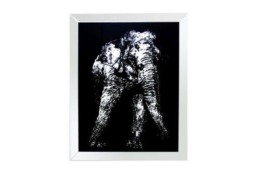 Tiere SPIEGELBILD - Silberfarben/Schwarz, Basics, Glas (80/100/4,4cm) - Ambia Home