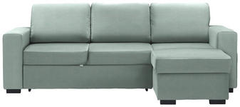 WOHNLANDSCHAFT in Textil Mintgrün  - Schwarz/Mintgrün, Design, Kunststoff/Textil (244/162cm) - Carryhome