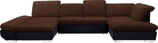 WOHNLANDSCHAFT in Textil Orange, Schwarz - Chromfarben/Schwarz, Design, Kunststoff/Textil (204/350/211cm) - Xora