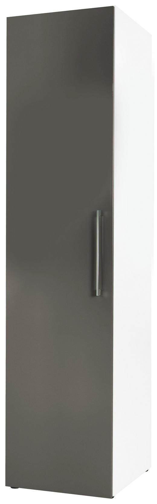 DREHTÜRENSCHRANK 1-türig Grau, Weiß - Chromfarben/Weiß, Design, Holzwerkstoff/Metall (50/208/57cm) - Carryhome