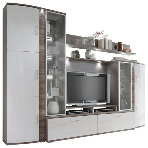 WOHNWAND Eichefarben, Grau, Weiß - Eichefarben/Silberfarben, Basics, Glas/Holzwerkstoff (317/217/49cm)