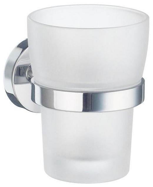 ZAHNPUTZBECHER - Chromfarben/Weiß, Basics, Glas/Metall (7,5/9,8/9,3cm)