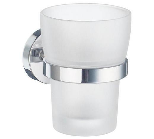 ZAHNPUTZBECHER Metall, Glas - Chromfarben/Weiß, Basics, Glas/Metall (7,5/9,8/9,3cm)