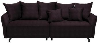 MEGASOFA in Textil Aubergine  - Aubergine/Schwarz, Design, Textil/Metall (226/91/103cm) - Carryhome