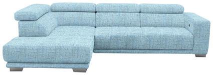 WOHNLANDSCHAFT in Textil Blau, Hellblau - Chromfarben/Blau, Design, Textil (207/301cm) - Xora