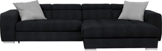 WOHNLANDSCHAFT in Textil Schwarz - Chromfarben/Schwarz, Design, Kunststoff/Textil (329/186cm) - Hom`in
