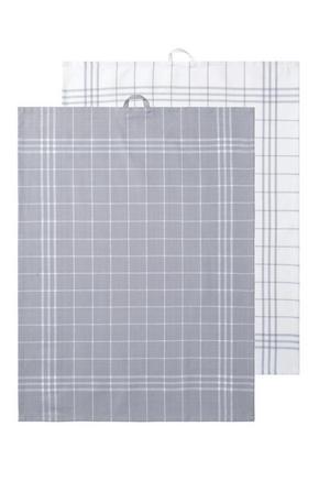 KÖKSHANDDUK - vit/grå, textil (50/70cm)
