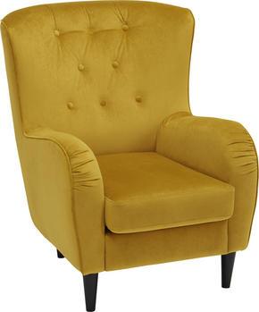 ÖRONLAPPSFÅTÖLJ - svart/gul, Trend, trä/textil (69-74/82/95cm) - Ambia Home