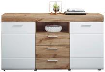 SIDEBOARD foliert Weiß, Eichefarben  - Eichefarben/Silberfarben, Design, Holzwerkstoff/Kunststoff (160/87/44cm) - Xora