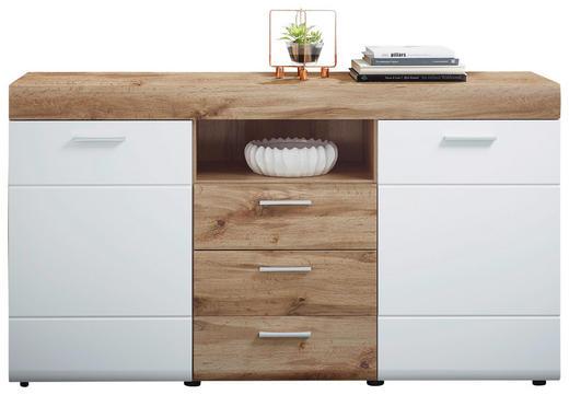 SIDEBOARD foliert Eichefarben, Weiß - Eichefarben/Silberfarben, Design, Holzwerkstoff/Kunststoff (160/87/44cm) - XORA