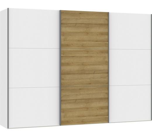 SCHWEBETÜRENSCHRANK in Weiß, Eichefarben  - Eichefarben/Silberfarben, Design, Holzwerkstoff/Metall (303,1/220/65cm) - Jutzler