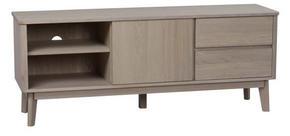 MEDIABÄNK - vit/ekfärgad, Design, trä (152/60/42cm) - Rowico