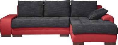 WOHNLANDSCHAFT in Textil Rot, Schwarz  - Wengefarben/Rot, Design, Holz/Textil (278/198cm) - Carryhome