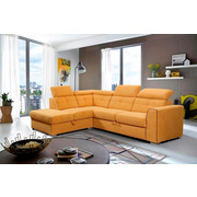 SEDEŽNA GARNITURA,  rumena les, tekstil, leseni material - aluminij/rumena, Design, umetna masa/tekstil (215/245cm) - Xora