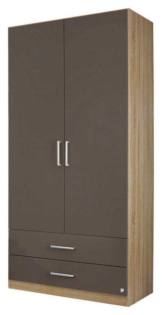 DREHTÜRENSCHRANK Eichefarben, Grau - Eichefarben/Silberfarben, Design, Holzwerkstoff/Kunststoff (91/197/54cm) - Carryhome