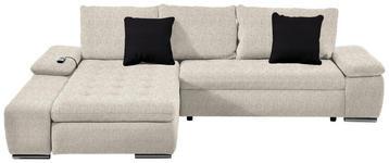 WOHNLANDSCHAFT Webstoff Relaxfunktion, Rückenkissen, Schlaffunktion, Zierkissen - Chromfarben/Beige, Design, Kunststoff/Textil (200/300cm) - Hom`in