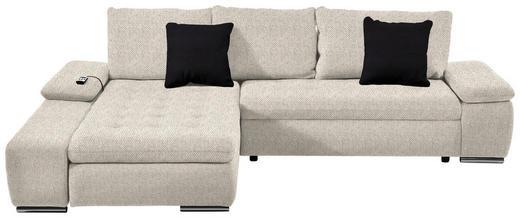 WOHNLANDSCHAFT Beige Relaxfunktion, Rückenkissen, Schlaffunktion, Zierkissen - Chromfarben/Beige, Design, Kunststoff/Textil (200/300cm) - Hom`in