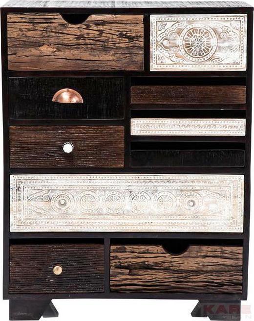 KOMMODE Mangoholz teilmassiv Braun, Schwarz, Weiß - Messingfarben/Schwarz, Trend, Holz/Metall (70/90/30cm) - KARE-Design