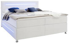 BOXSPRINGBETT 180/200 cm  in Weiß  - Chromfarben/Weiß, Trend, Textil/Metall (180/200cm) - Carryhome