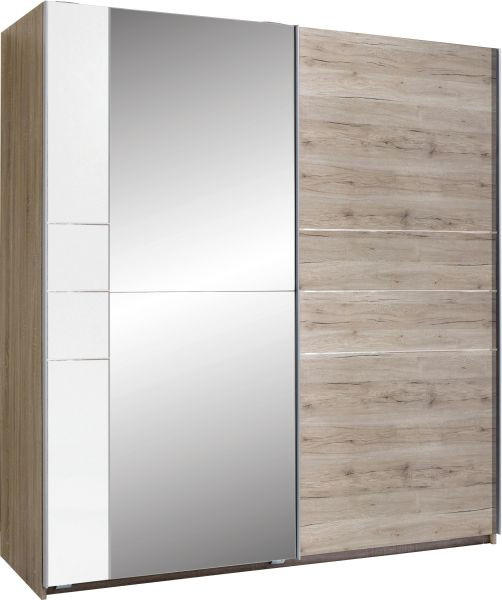 ORMAR S KLIZNIM VRATIMA - bijela/boje hrasta, Design, metal/drvo (180/198/64cm) - Xora