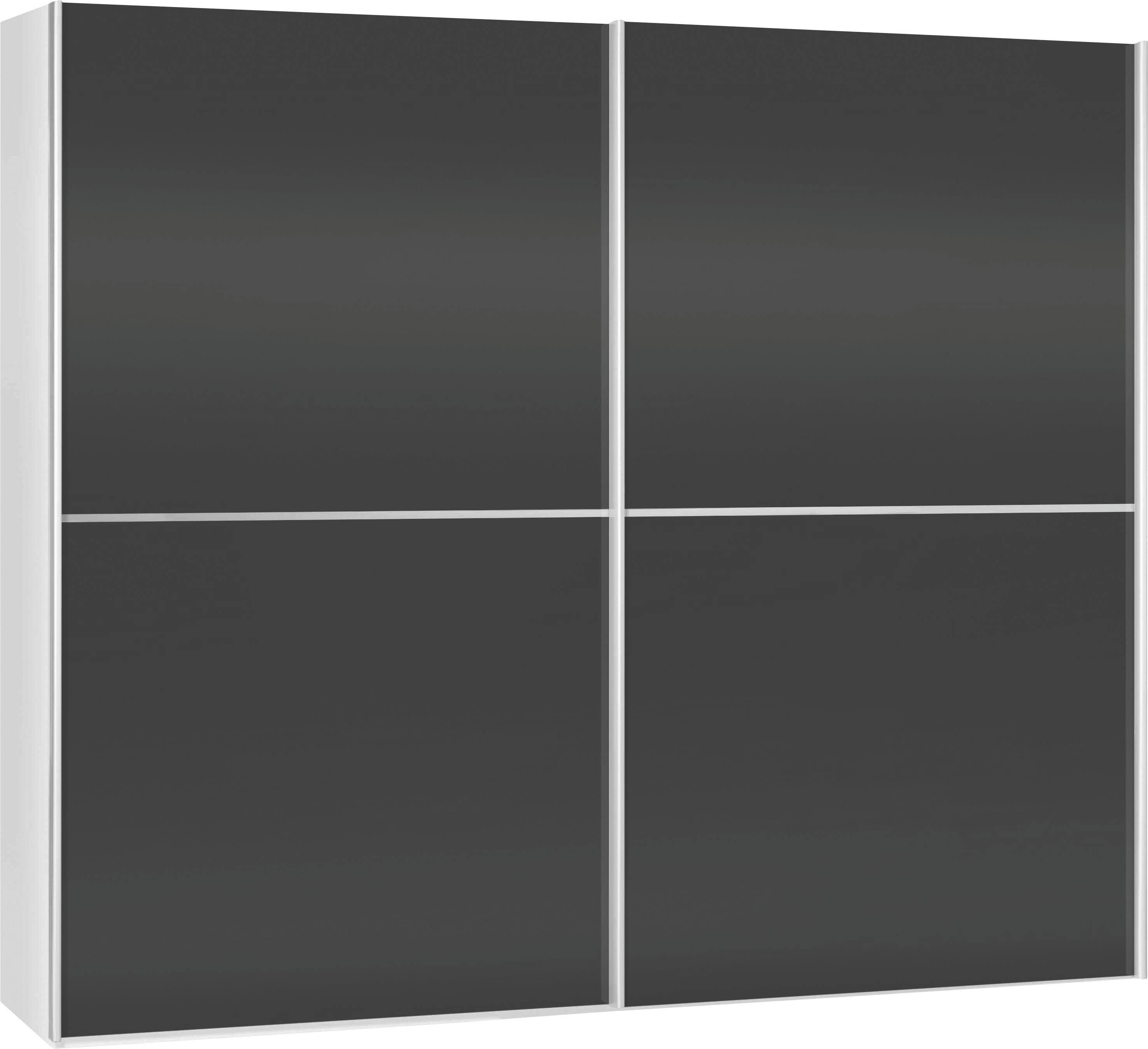 SCHWEBETÜRENSCHRANK 2  -türig Schwarz, Weiß - Schwarz/Weiß, Design (202/220/67cm) - XORA