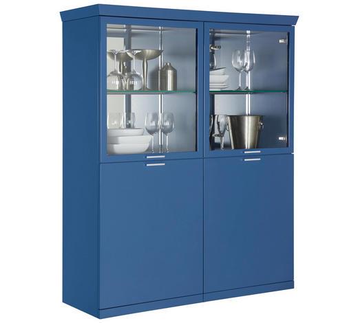 HIGHBOARD 120/148,6/39,6 cm - Chromfarben/Blau, Design, Glas/Holzwerkstoff (120/148,6/39,6cm) - Invivus