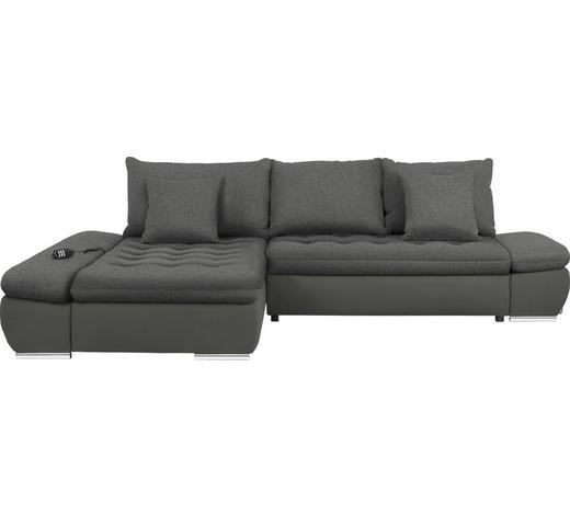 WOHNLANDSCHAFT in Textil Braun - Chromfarben/Braun, Design, Textil/Metall (200/309cm) - Hom`in