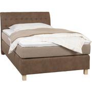 Boxspringbett 120 cm   x 200 cm   in Textil Beige, Hellbraun - Hellbraun/Eichefarben, Konventionell, Kunststoff/Textil (120/200/cm) - Xora