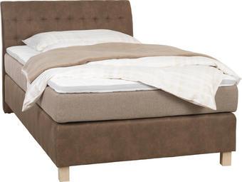 POSTEL BOXSPRING, 120 cm  x 200 cm, textil, béžová, světle hnědá - barvy dubu/béžová, Konvenční, textil/umělá hmota (120/200cm) - Xora