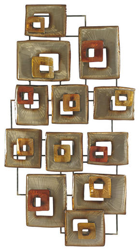 VÄGGDEKORATION - röd/guldfärgad, Trend, metall (135,5/7,5/72cm) - Ambia Home