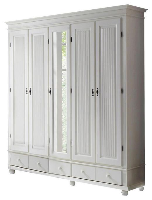 DREHTÜRENSCHRANK 4-türig Kiefer massiv Weiß - Weiß, ROMANTIK / LANDHAUS, Holz/Metall (195/193/59cm) - Carryhome