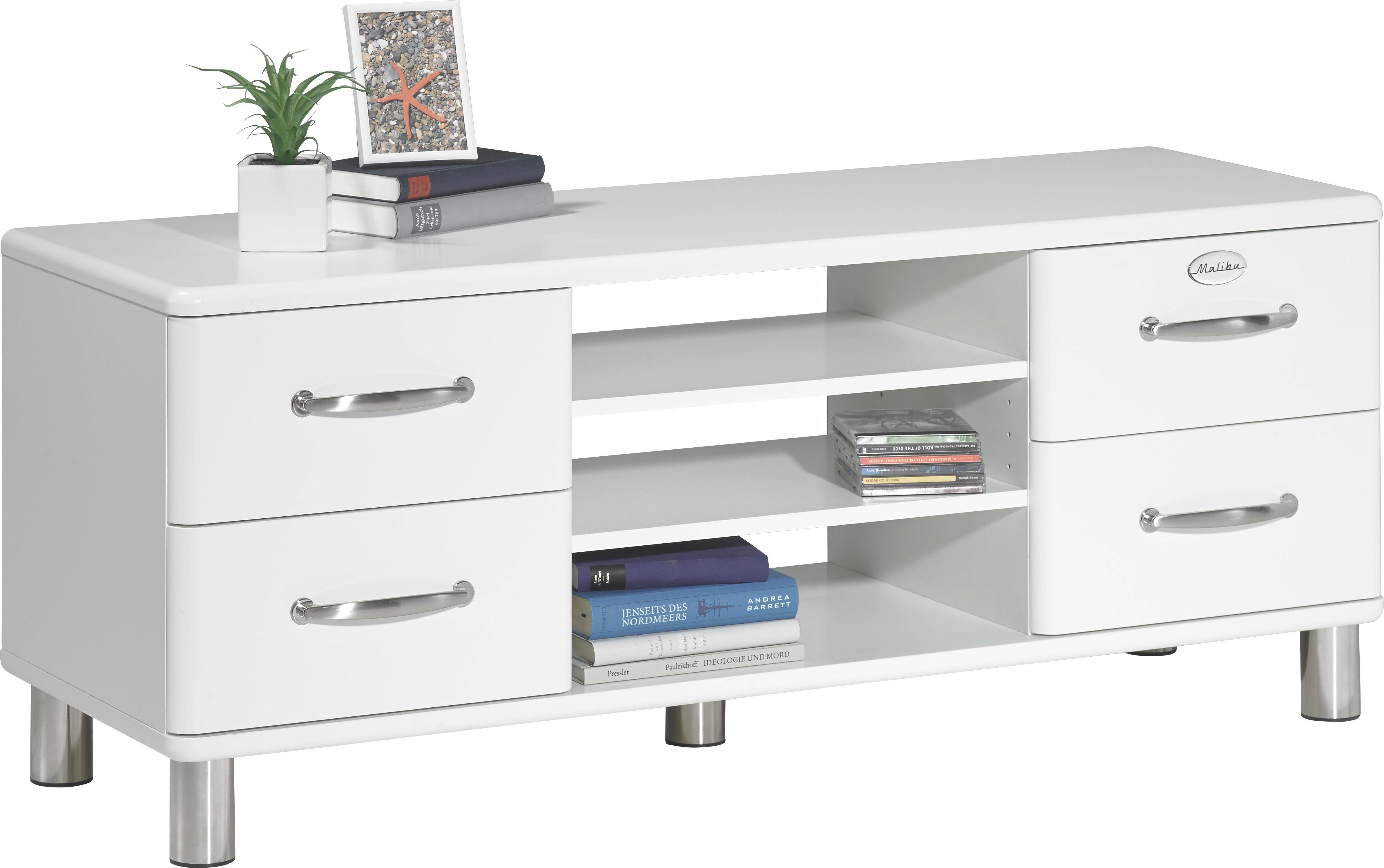KOMMODE Weiß - Weiß/Nickelfarben, Design, Holzwerkstoff/Metall (134/54/44cm) - CARRYHOME