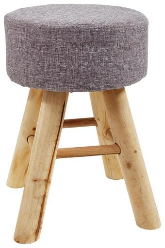 HOCKER Hartholz Braun, Grau - Braun/Grau, Holz/Textil (28/40cm)
