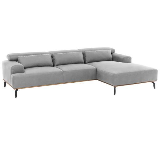 WOHNLANDSCHAFT in Textil Grau - Schwarz/Grau, MODERN, Textil/Metall (285/174cm) - Carryhome