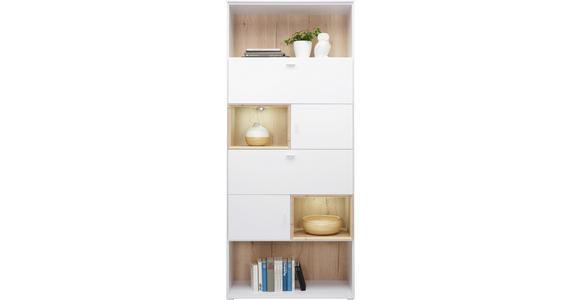 REGAL in 90/213/40 cm Eichefarben, Weiß - Eichefarben/Alufarben, Design, Holzwerkstoff/Metall (90/213/40cm) - Hom`in