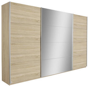 SKJUTDÖRRSGARDEROB - Sonoma ek/silver, Design, metall/glas (315/229/62cm) - Carryhome