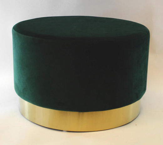 HOCKER Dunkelgrün - Dunkelgrün, Textil/Metall (55/35cm)