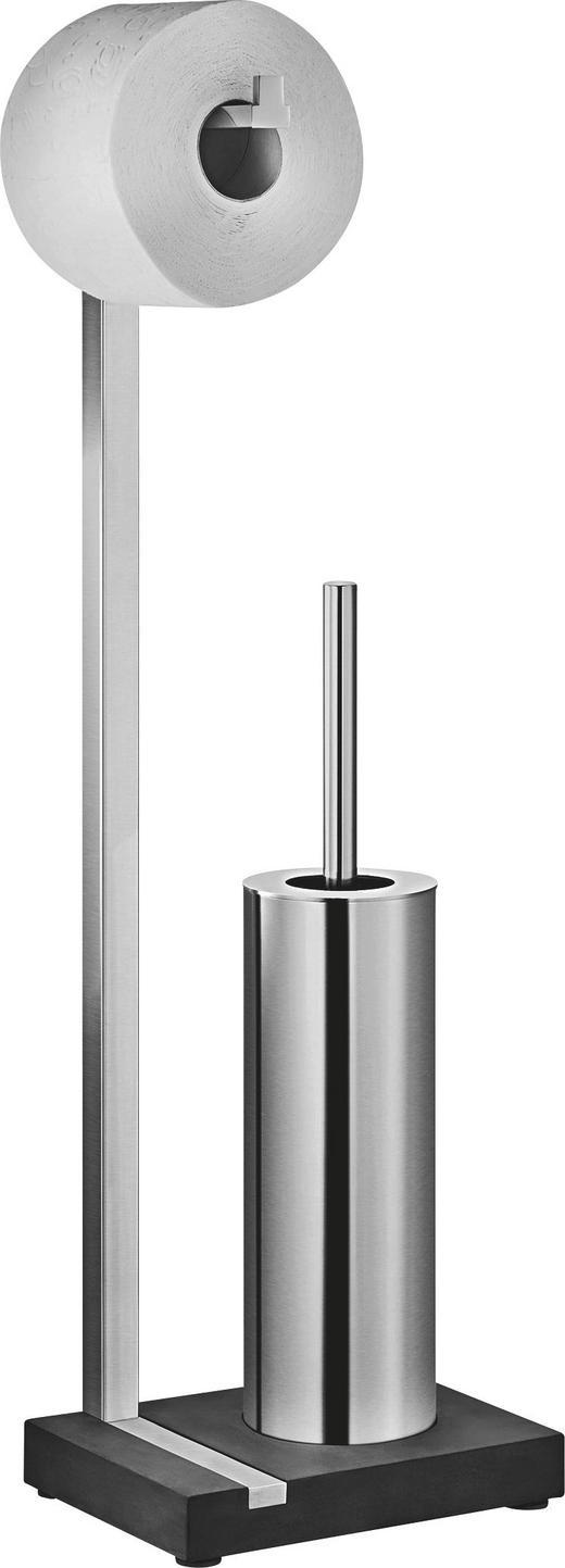 TOILETTENPAPIERHALTER - Edelstahlfarben/Schwarz, Kunststoff/Stein (15/64,5/20cm)