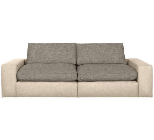 MEGASOFA in Textil Beige - Beige/Schwarz, Design, Kunststoff/Textil (266/84/123cm) - Hom`in
