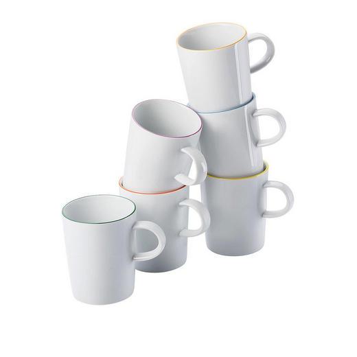 KAFFEEBECHERSET 6-teilig Keramik Porzellan Multicolor, Weiß - Multicolor/Weiß, Keramik