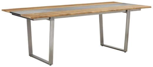 Gartentisch Holz Kunststoff Metall Edelstahlfarben Grau