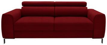 DREISITZER-SOFA Webstoff Rot - Chromfarben/Rot, Design, Textil/Metall (199/76-96/98cm) - Hom`in