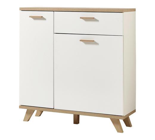 SCHUHSCHRANK Weiß, Eichefarben  - Eichefarben/Weiß, Design, Holzwerkstoff (98/103/35cm)