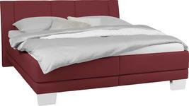 POLSTERBETT 160 cm   x 200 cm   in Textil Rot - Chromfarben/Rot, KONVENTIONELL, Holz/Kunststoff (160/200cm) - Xora